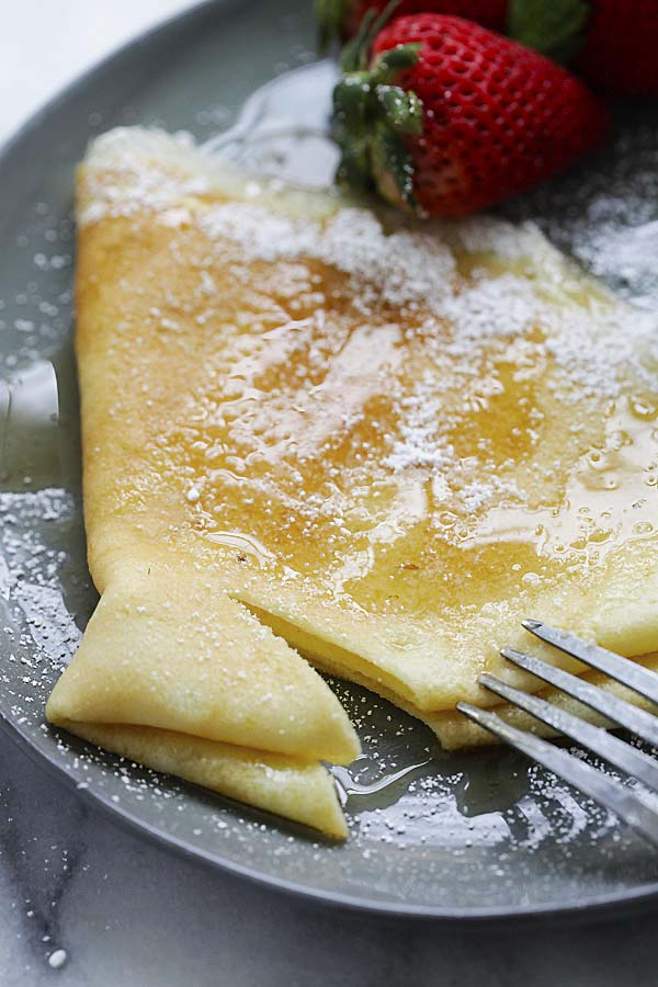 Close up of Italian crepes on a plate.