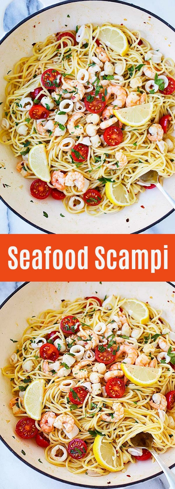 Seafood Scampi - the best seafood pasta with lemon and butter sauce. The perfect dinner for the entire family or special occasions. Absolutely delicious!
