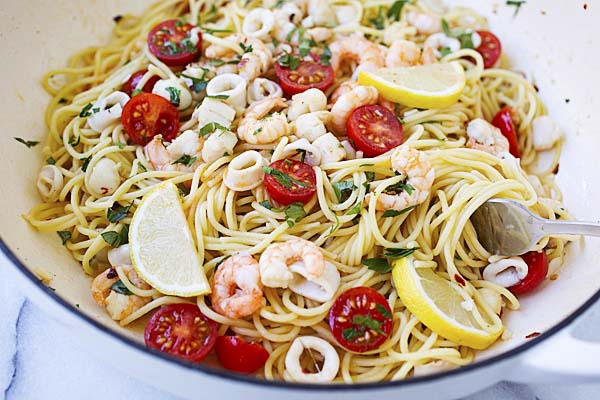 Seafood scampi in a skillet