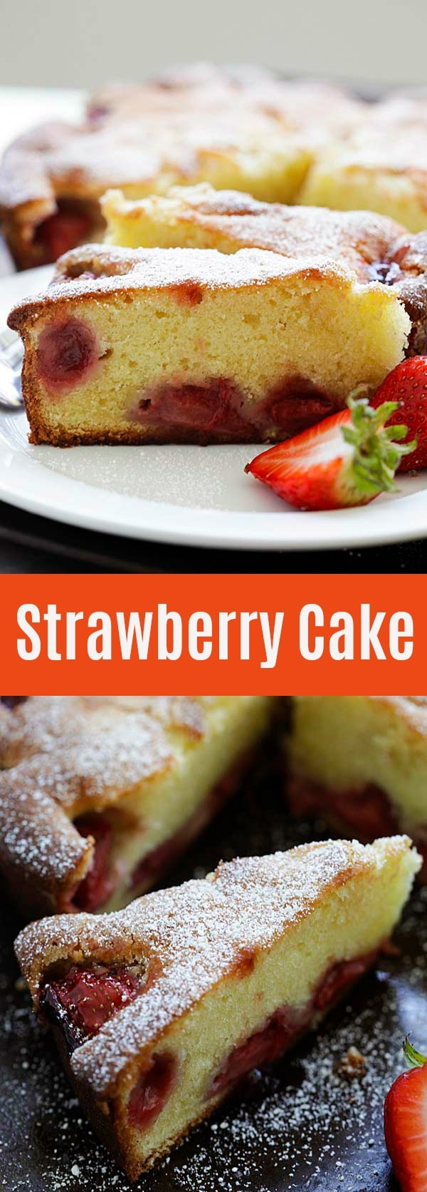Strawberry Cake - the best strawberry cake recipe ever, loaded with one pound of fresh strawberries. The cake is moist, buttery, sweet and absolutely delicious!