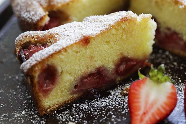 Close up of healthy homemade strawberry butter cake, ready to serve.