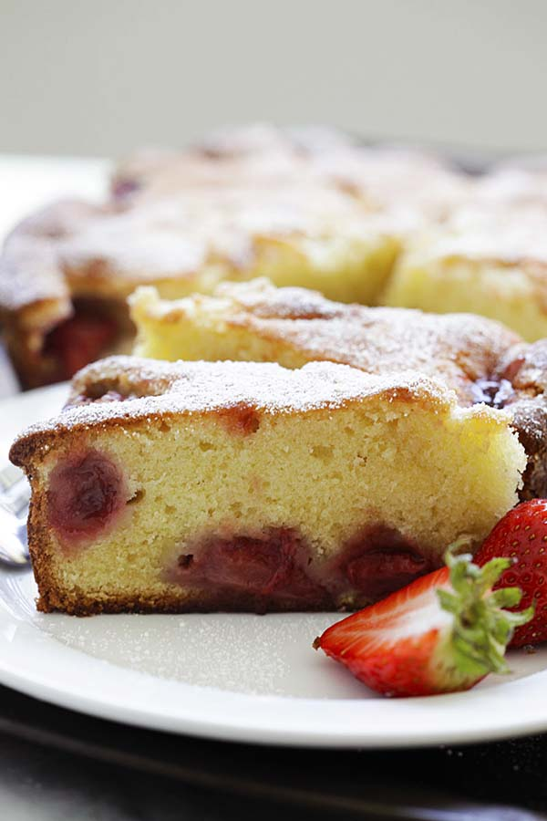 Slices of strawberry cake on a plate.