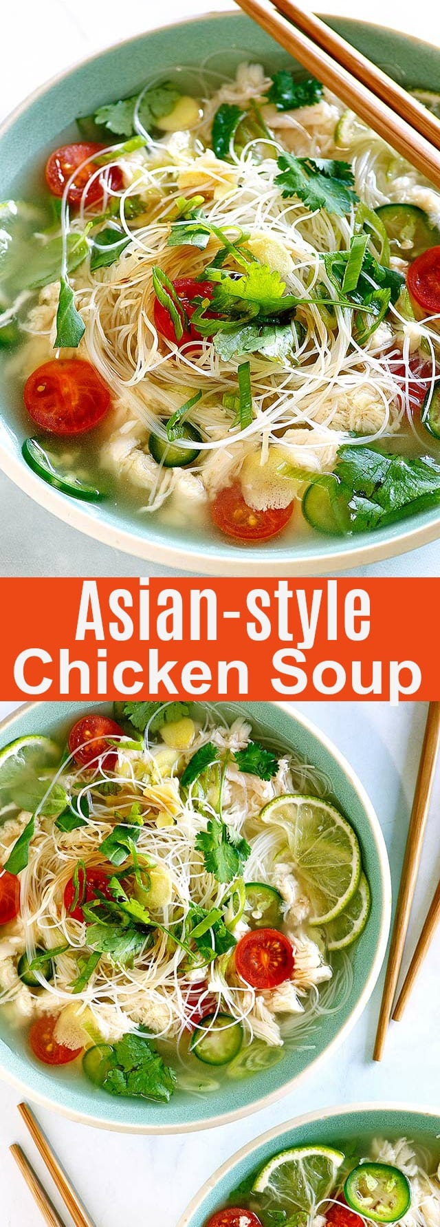Asian Chicken Soup - healthy and low-carb chicken soup recipe with Asian rice noodles, herbs and ingredients. This is comfort food for the soul. So easy to make and delicious!