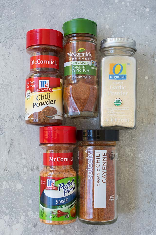 Ingredients for dry rub for ribs, baby back ribs, chicken, pork, turkey, steak and beef.