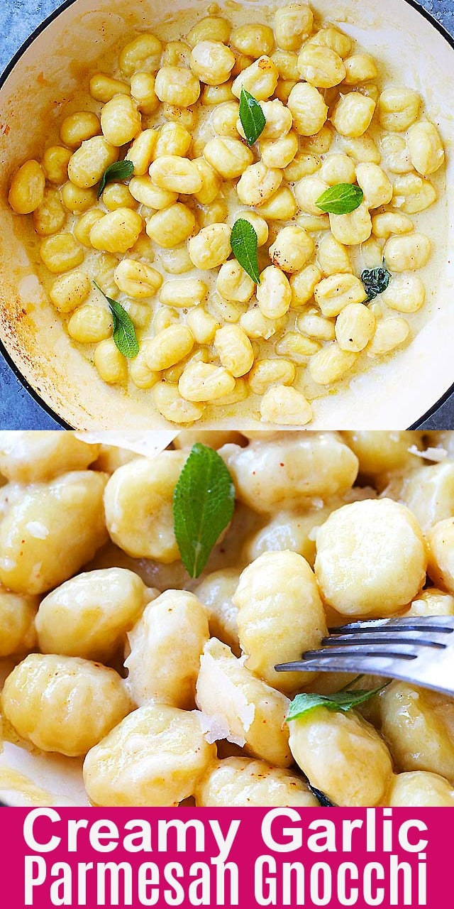 Creamy Garlic Parmesan Gnocchi - easy skillet gnocchi in garlicky, cheesy and creamy sauce. This recipe takes only 15 mins to make and perfect for weeknight dinner.