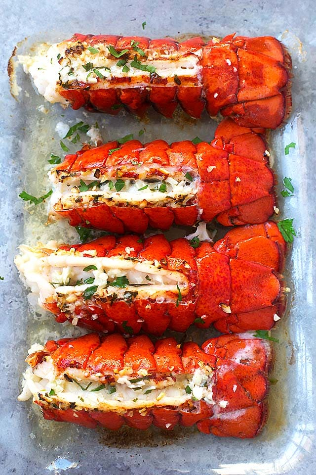 Garlic Butter Lobster Tails Broiled In 8 Minutes Rasa Malaysia
