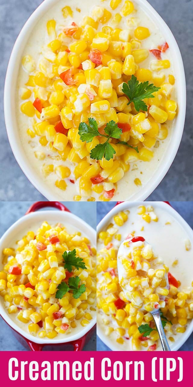 Creamed Corn - easy and delicious Instant Pot Creamed Corn recipe that takes only 10 mins in the pressure cooker. Creamy, buttery and cheesy cream corn that you want to eat every day!