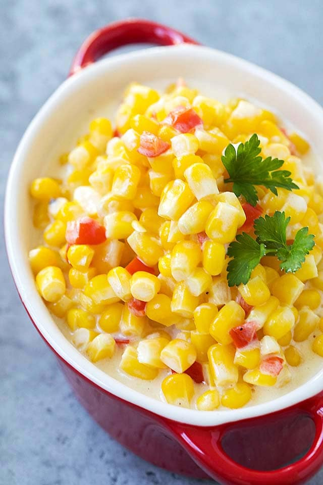 Healthy homemade creamed Corn in a serving ware, ready to be served.