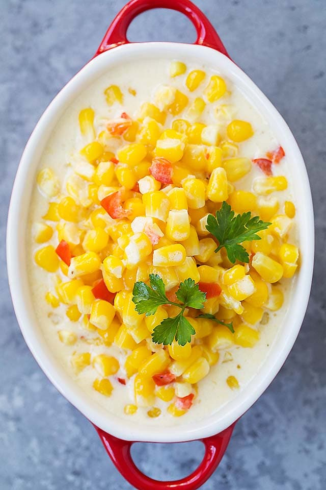 Cream Corn recipe made with frozen corn kernels, heavy cream and Parmesan cheese.