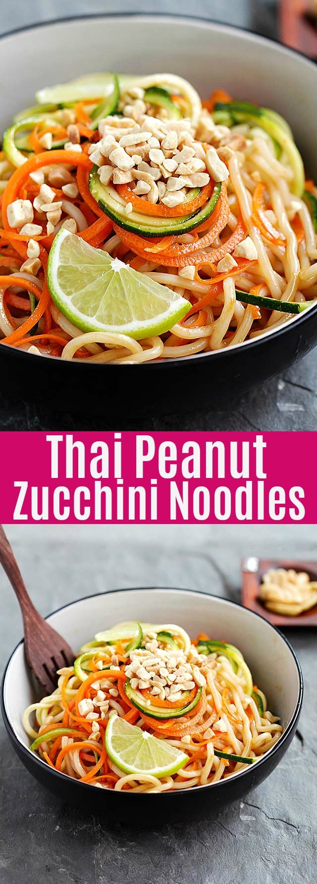 Thai Peanut  Zucchini Noodles - easy and healthy recipe with veggie noodles in mouthwatering Thai peanut sauce. This recipe is delicious and takes 15 mins to make.