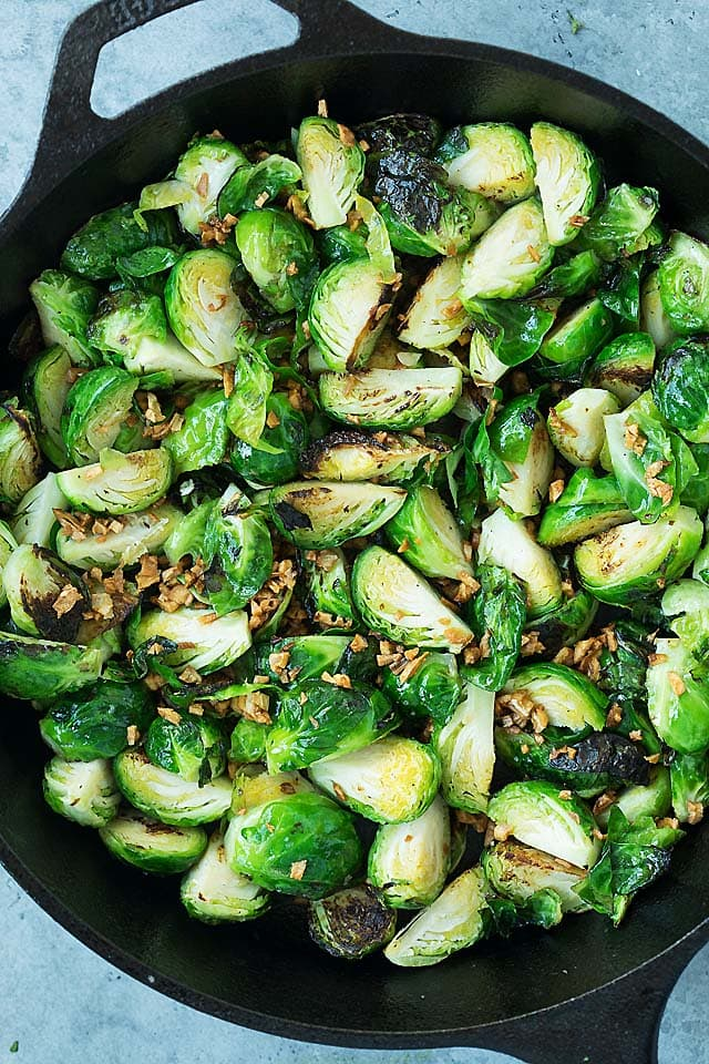 Crispy garlic sauteed Brussels sprouts, ready to be served.