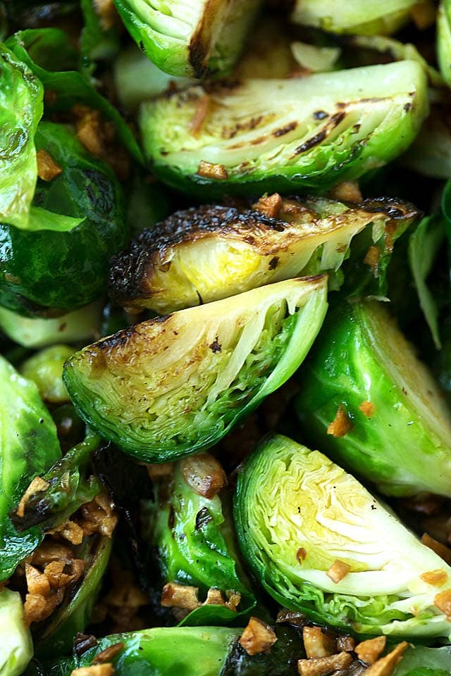 Close up of easy homemade sauteed brussels sprouts with garlic.