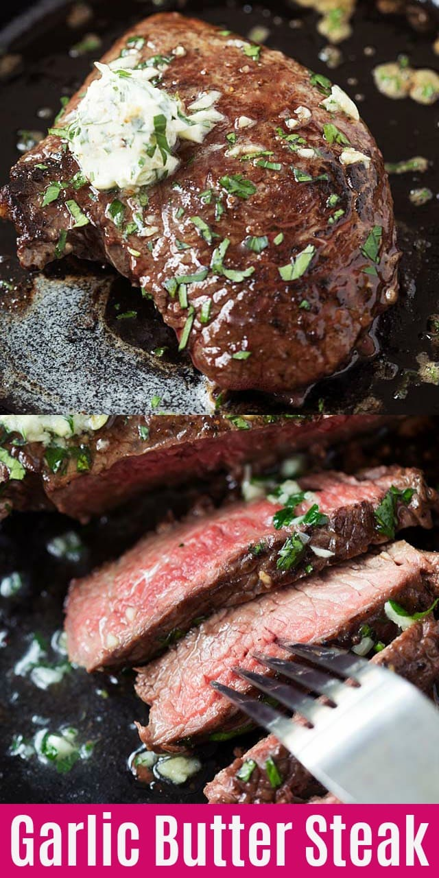 Garlic Butter Steak - juicy and tender steak cooked in a cast-iron skillet. Topped with compound garlic butter, this skillet steak recipe is so easy and delicious!