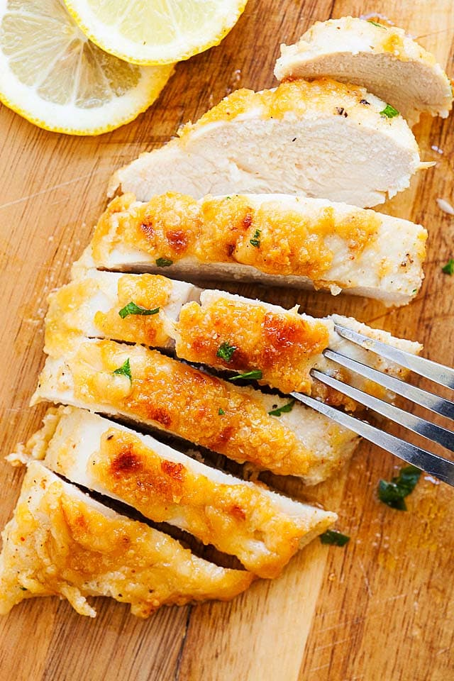 Sliced boneless chicken breast recipe with Parmesan cheese.