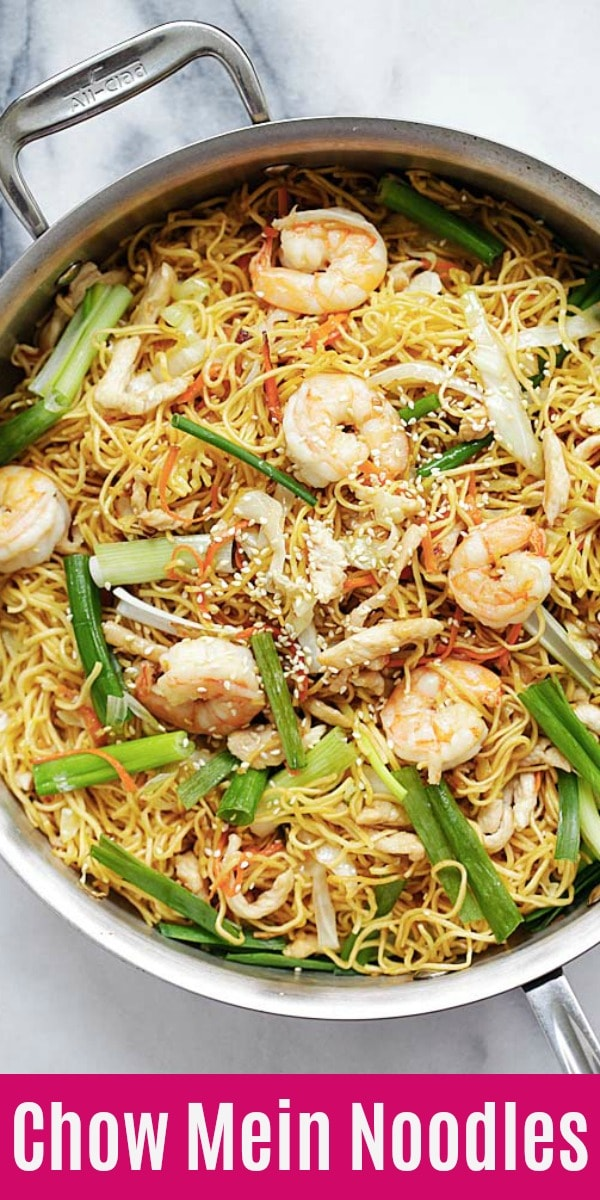 Easy Chow Mein recipe with Chinese egg noodles stir fried with chicken, shrimp and veggies. This is an authentic chow mein noodles recipe Chinatown style | rasamalaysia.com