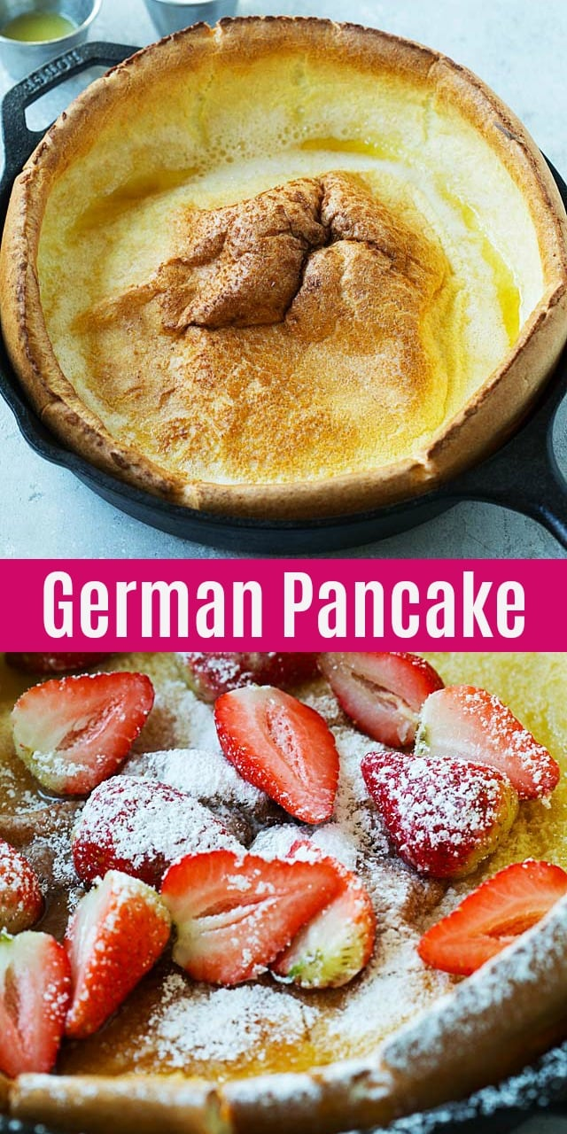 German Pancake - puffy and fluffy golden baked German pancake recipe. Serve with powdered sugar, syrup, melted butter and berries for a wholesome breakfast.