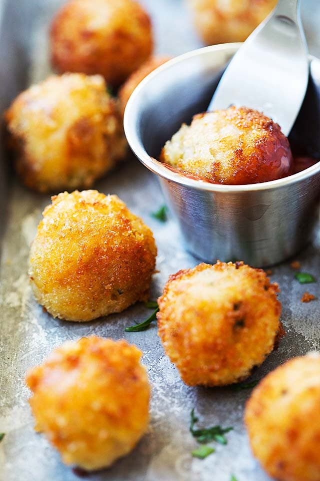 Mashed potato balls, ready to be served.