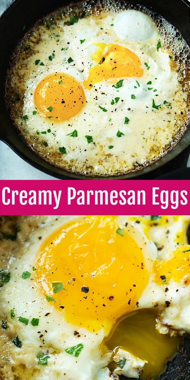 Parmesan Eggs - creamy skillet eggs that redefine breakfast for champions. Loaded with heavy cream, Parmesan cheese and butter, these eggs will change your mornings forever.