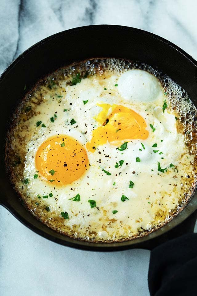 Easy Parmesan Eggs Breakfast recipe.