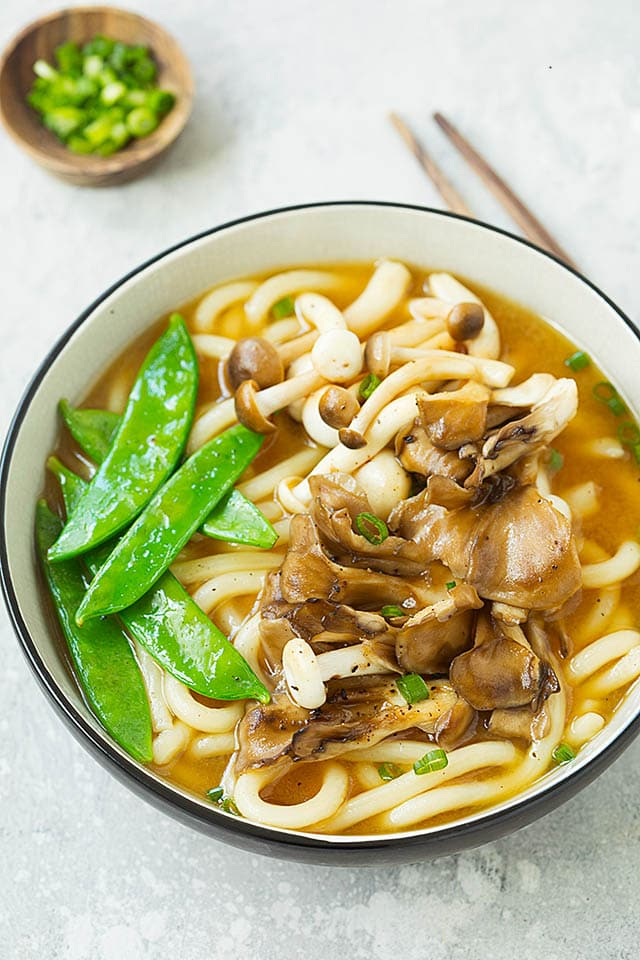 Udon noodle soup with miso flavors, ready to be served.