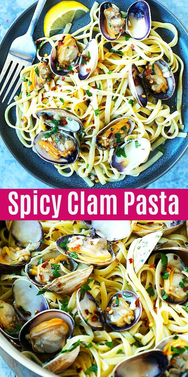 Spicy Clam Pasta - restaurant-quality linguine tossed with juicy Manila clams and garlic butter sauce. This clam pasta is great for dinner and takes only 20 mins.