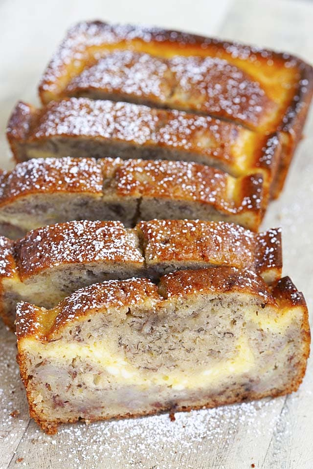 Moist and sweet homemade banana bread with cream cheese cheesecake filling. This Cheesecake Banana Bread recipe is utterly rich and delicious. So good!