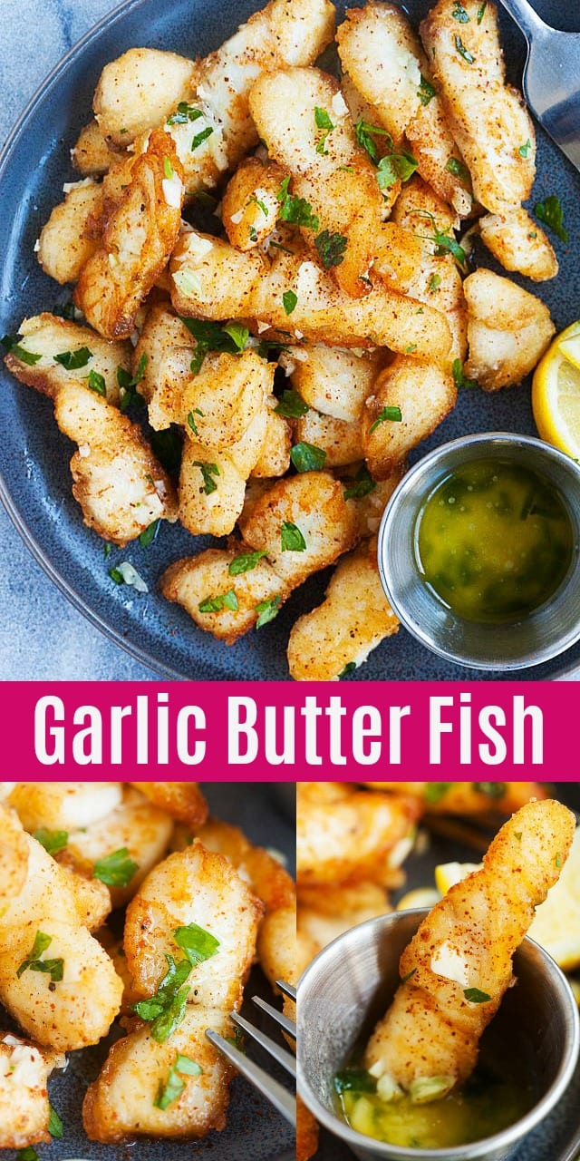 Garlic Butter Fish - crispy and delicious pan-fried fish fillet with garlic butter sauce. This recipes takes 20 mins. Serve alone or with pasta for a wholesome dinner.