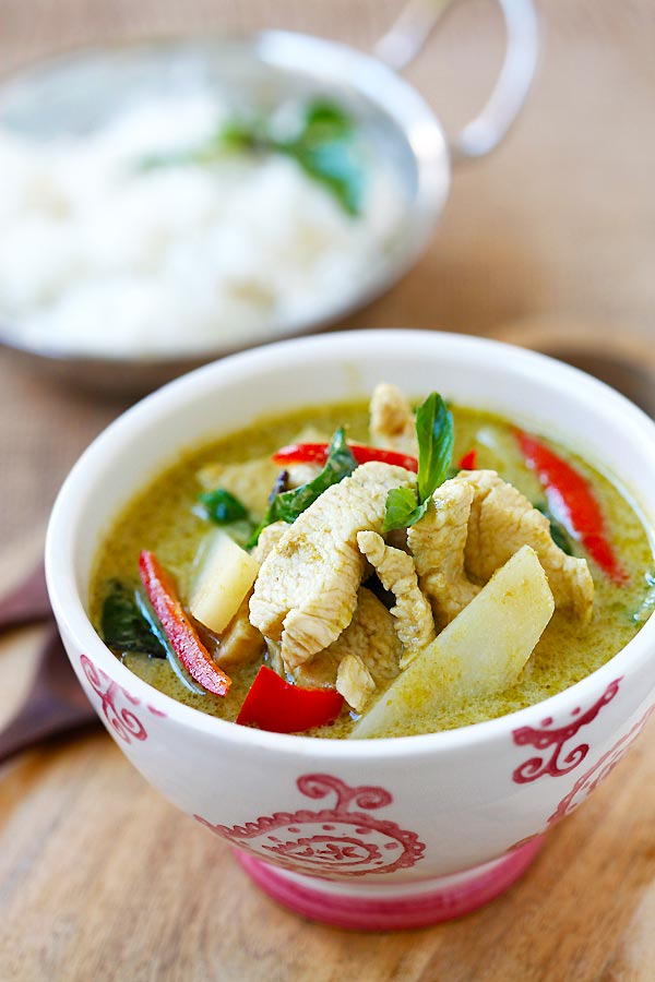 Green Curry with chicken in a bowl.