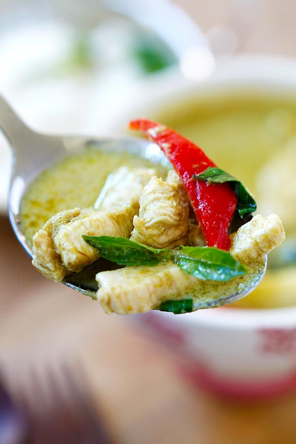 Easy green curry and green curry soup on a spoon.
