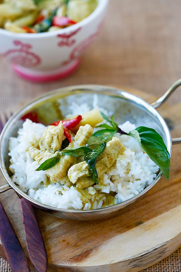 Thai green curry with green curry paste.