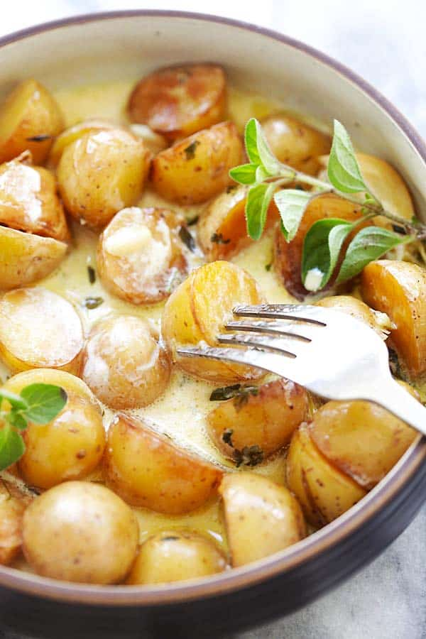 Instant Pot pressure cooker creamy baby potatoes.