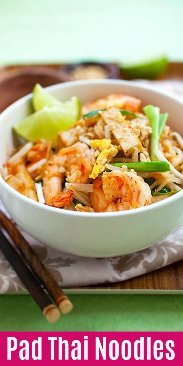 Pad Thai is an easy stir-fried noodles dish made with rice stick noodles, shrimp, fried tofu, peanuts in Pad Thai sauce. This is homemade and authentic Thai recipe.