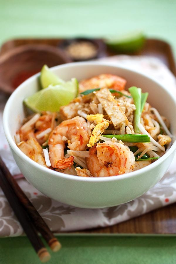 Easy Pad Thai noodles recipe in a white bowl.
