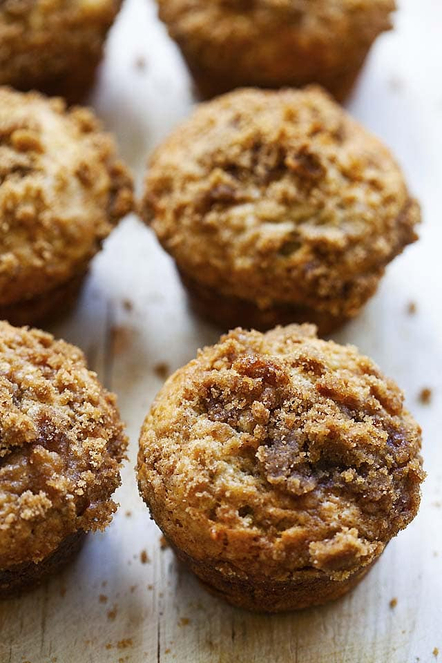 King Arthur banana crumb muffins, ready to be eaten.