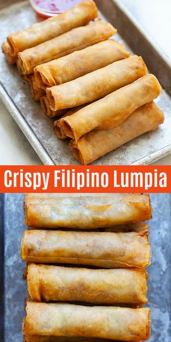 Lumpia are Filipino fried spring rolls filled with ground pork and mixed vegetables. This lumpia recipe is authentic and yields the crispiest lumpia ever.