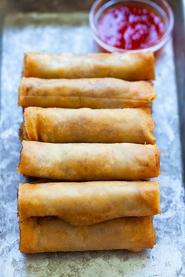 Fried lumpia, ready to serve.