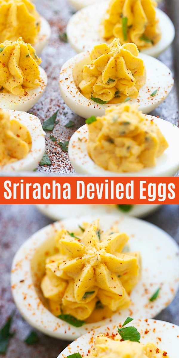 These amazing Sriracha Deviled Eggs are unlike any classic ones you have. The filling is spiced with a doze of Sriracha chili sauce, giving the eggs a nice kick in taste.