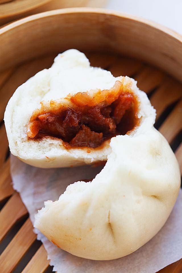 Steamed char siew bao buns with pork belly filling.