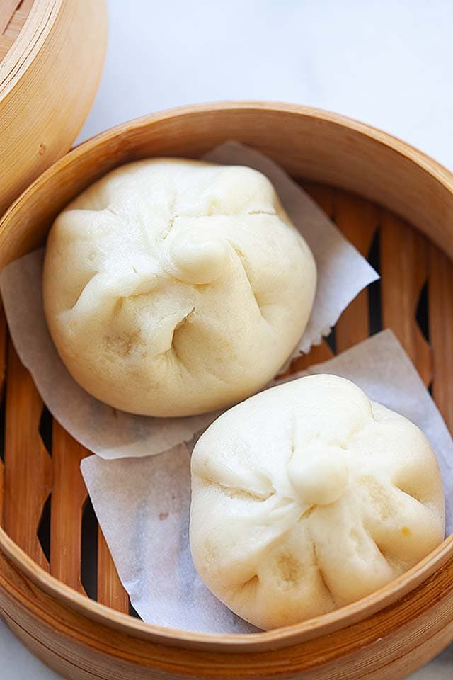 Steamed pork buns, ready to serve.