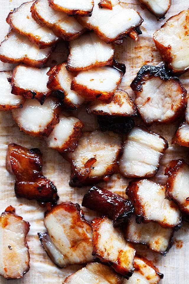 Char siu on a chopping block.