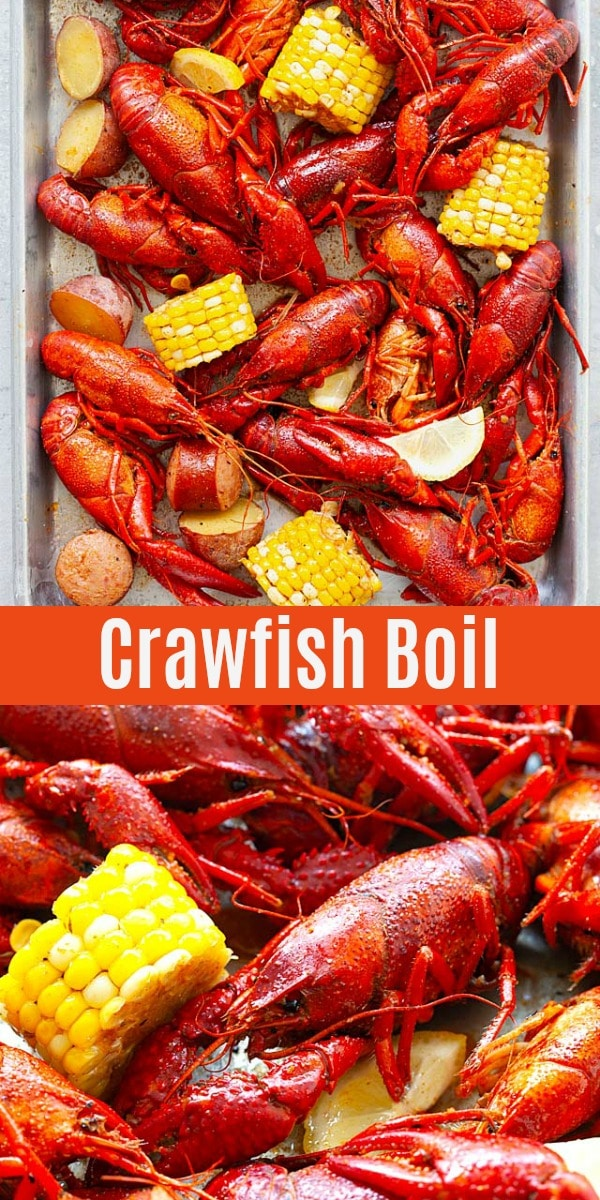 The best Crawfish Boil recipe just like how it's done in New Orleans. Made with live crawfish, Louisiana and Cajun seasonings, corn, red potatoes and smoked sausages, these crawfish are so delicious!