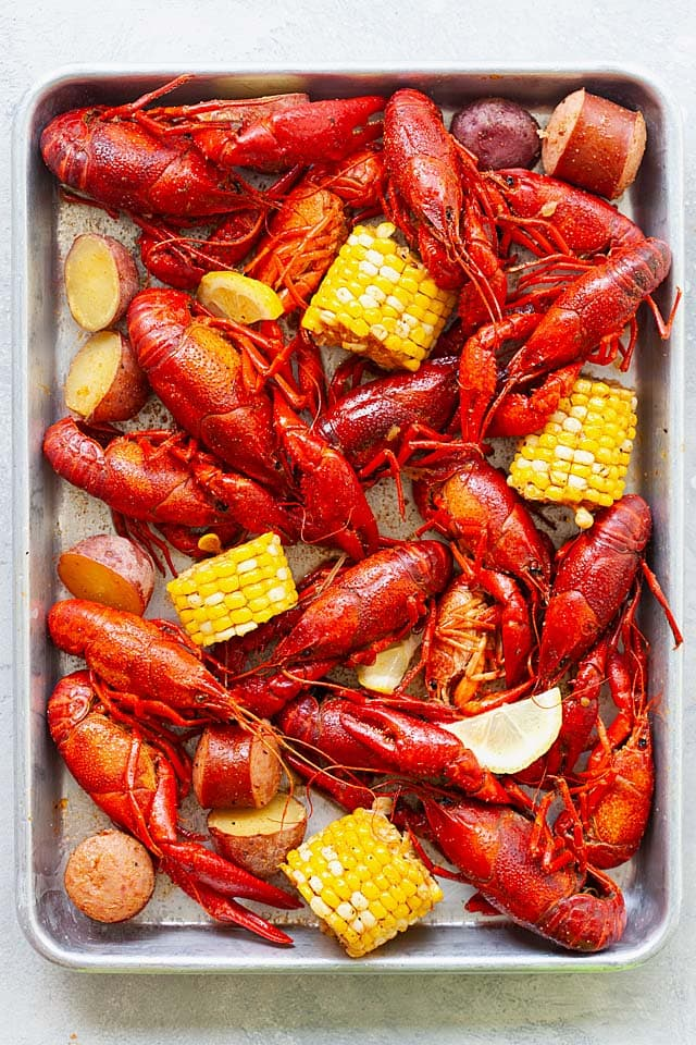 Crawfish boil with corn, smoked sausage and red potatoes, ready to serve.