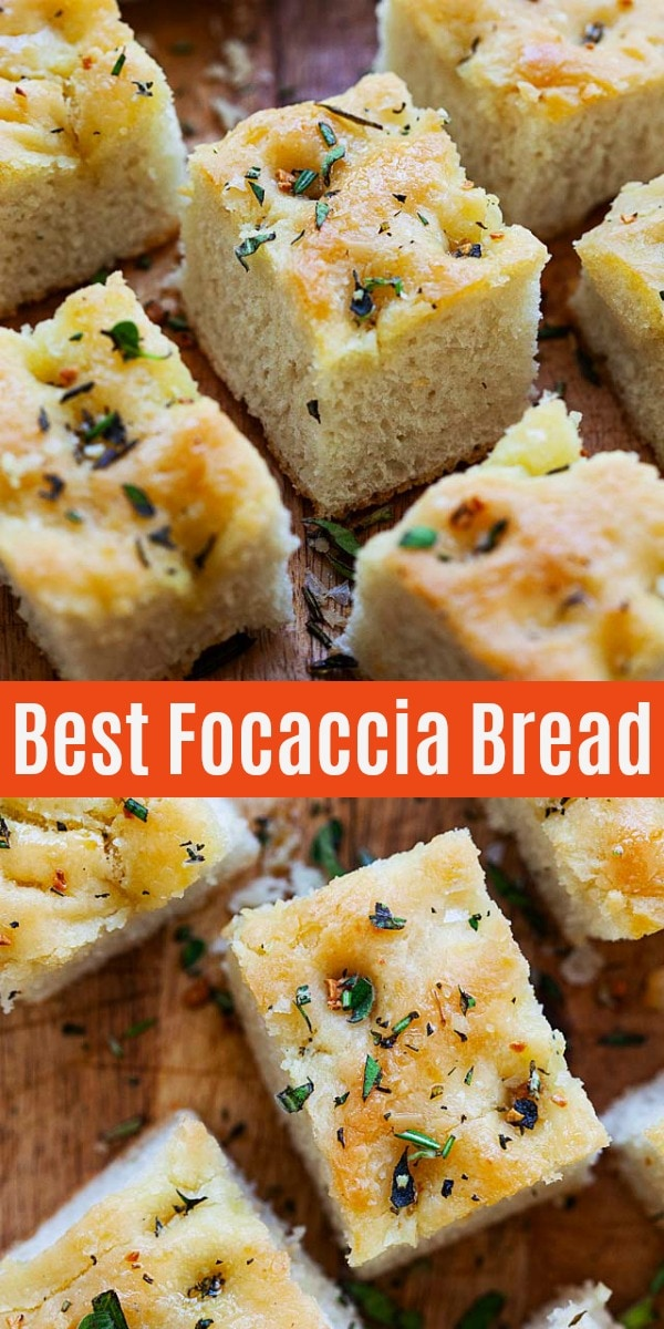 No-fuss and easy Focaccia bread recipe that calls for five basic ingredients that yields soft, fluffy and aromatic Focaccia that pairs well with any main dishes or as a snack or appetizer.
