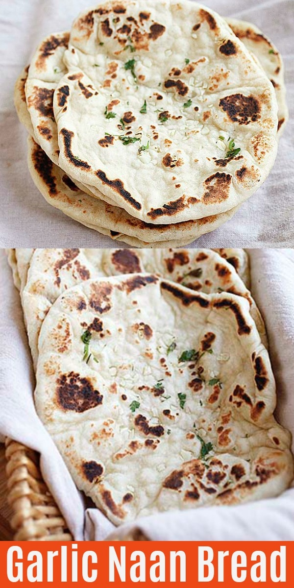 Soft, puffy and airy Garlic Naan topped with minced garlic and melted butter. Make this skillet naan bread on stove top. The recipe is so easy, hassle-free and delicious!