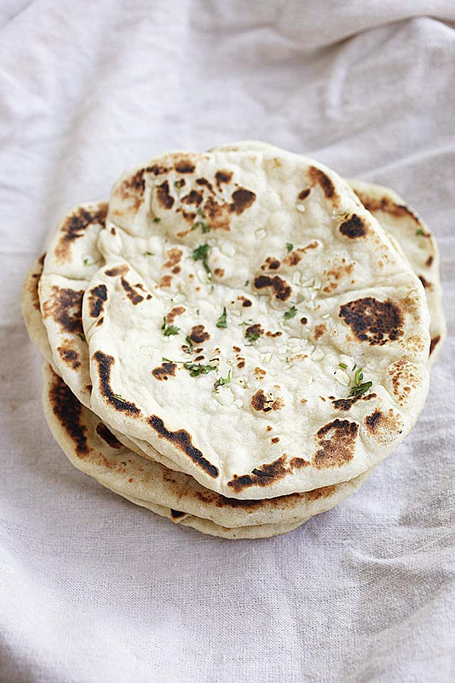 Garlic naan, ready to be served.