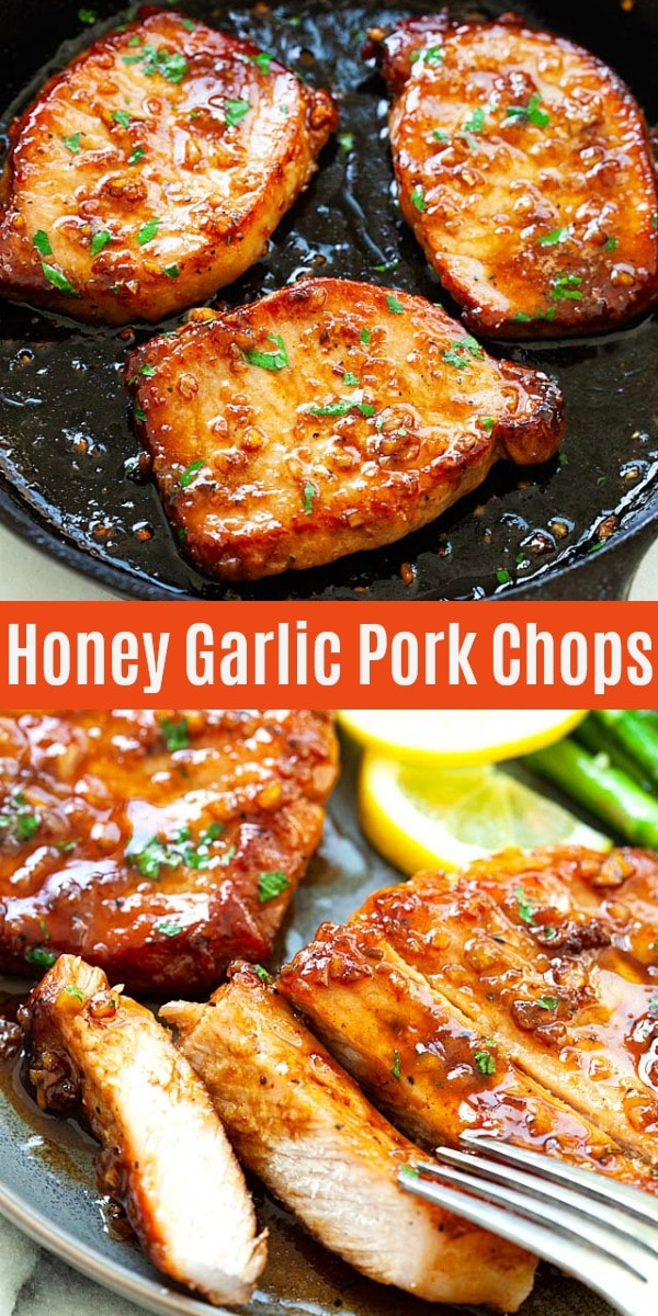 Honey Garlic Pork Chops cooked in a skillet, with sticky honey garlic sauce, all done in less than 15 minutes. This recipe is absolutely delicious, with only 5 main ingredients!