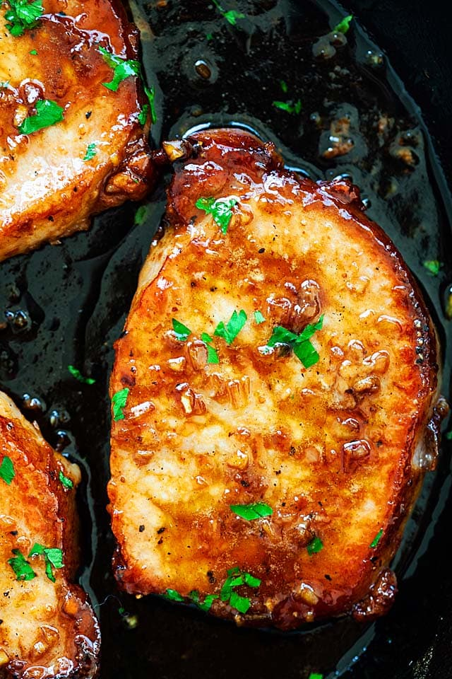 Boneless pork chops recipe with honey garlic sauce.