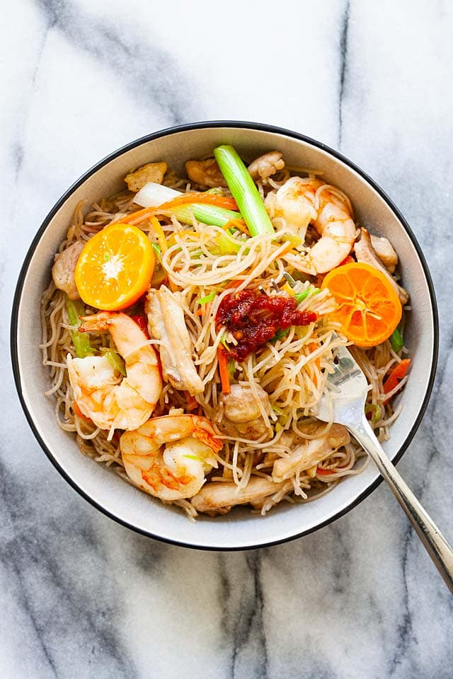 Pancit in a bowl, ready to serve.