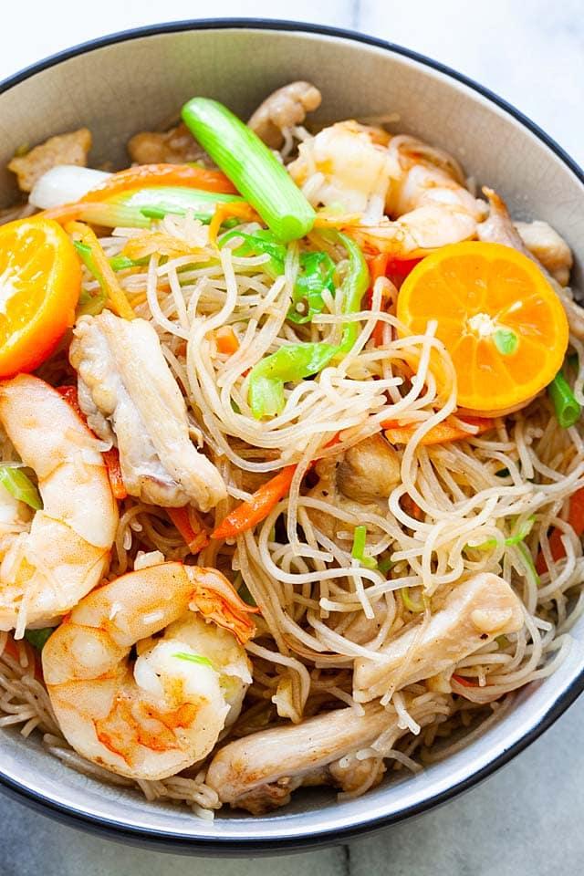 Close up shot of pancit bihon recipe with shrimp.