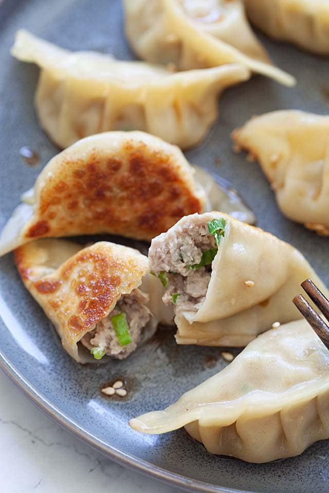 Potstickers with potstickers dipping sauce.